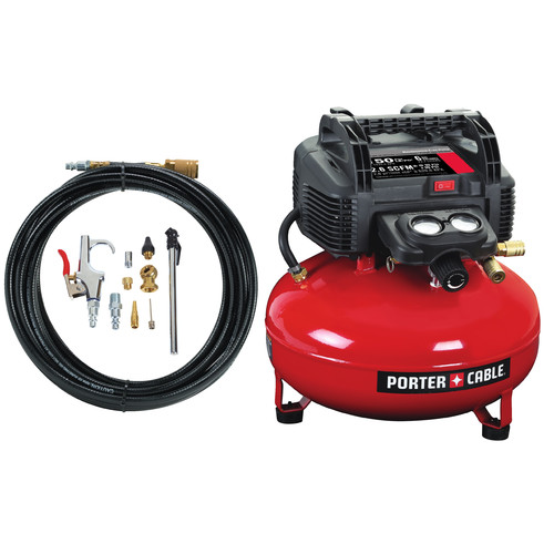 Porter-Cable C2002-WKR | 0.8 HP 6 Gallon Oil-Free Pancake Air Compressor /w 13 Piece Hose and Accessory Kit | CPO Outlets