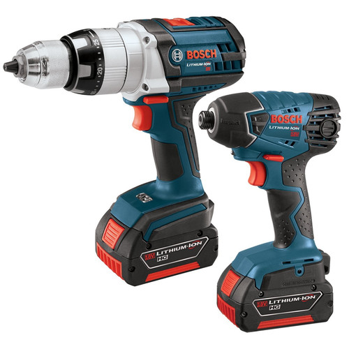 Bosch CLPK221-181 18V Cordless Lithium-Ion 1/2 in. Hammer Drill and Impact Driver Combo Kit