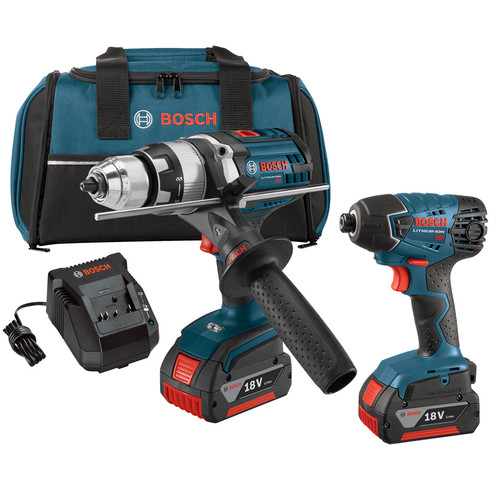 Bosch CLPK222-181-RT 18V 4.0 Ah Cordless Lithium-Ion Brute Tough Hammer Drill and Hex Impact Driver Combo Kit